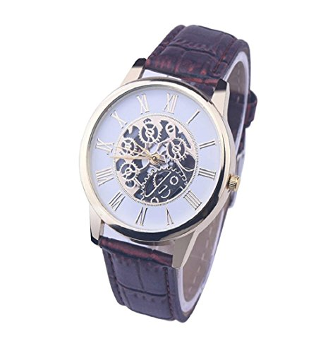 ❤️ Amlaiworld Montre digitale de Rome Montre bracelet en cuir Cadran analogique quartz montre-bracelet❤️ (1, Brown)