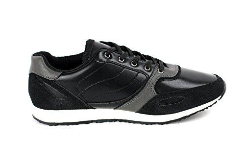 Hommes À Lacets Baskets Cuir Décontracté De Course Chaussures De Marche Designer Gym Neuf Taille Noir