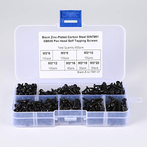EdBerk74 500PCS Carbon Steel Blechschrauben M3 * 6/8/10/12/16/18 / 20mm Laptop Schrauben Kleine Philips Flachkopfschrauben Set