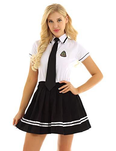 ranrann Schulmädchen Kostüm Damen Schuluniform T-Shirt+ Rock+ Krawatte 3PC Outfit Set Mädchen Party Cosplay Kostüm Fasching Karneval Halloween Verkleidung S-3XL Weiß&Schwarz 3X-Large