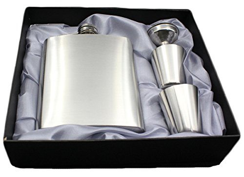 NEWZCERS Stylish Edelstahl Flasche 7oz × 1 + Edelstahl Trichter × 1 + Edelstahl Glas × 2, für die Lagerung Whisky / Alkohol (Alkohol Flasche Lagerung)