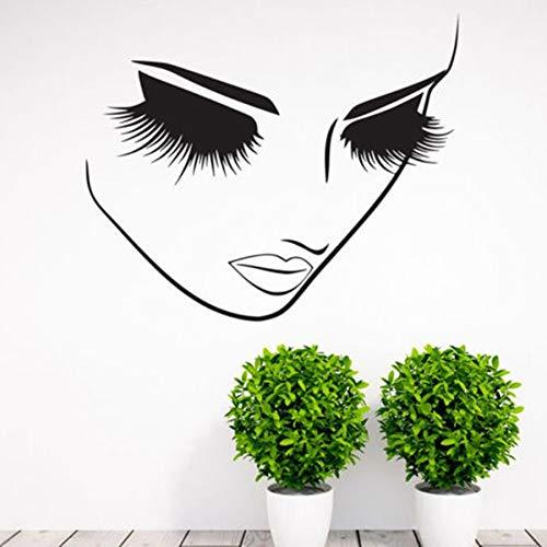 Ciglia Salone di bellezza Decalcomania Della Parete Del Vinile Adesivi Ragazza Donna Lunghe Ciglia Ciglia Wall Art Murale Lash Bar Cosmetici Negozio Decor 57X40CM