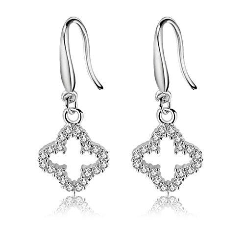 Ohrringe S925 Silber Weibliche Persönlichkeit Süße Vierblättrige Klee Ohrringe Frische Ohrringe