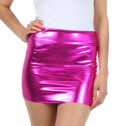 Sakkas 6924 Frauen Shiny Metallic Liquid Mini-Rock - Pink - Medium - Hem Mini Skirt