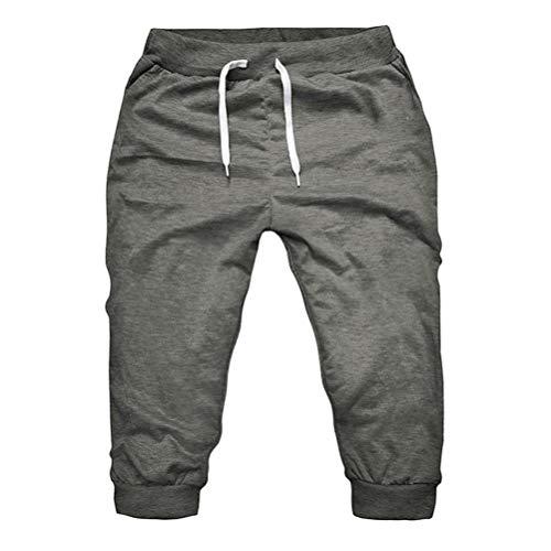 Hommes Shorts de sport, Toamen Le jogging Faire des exercices Gym Shorts Pantalons Élastique Décontractée Couleur unie Loisir (XXXL, Gris foncé)