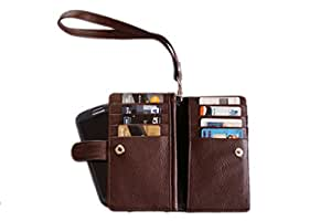 Premium Branded Fabric Leather Travel Pouch for ZTE Grand X2 - Brown - TLPBR50#1928