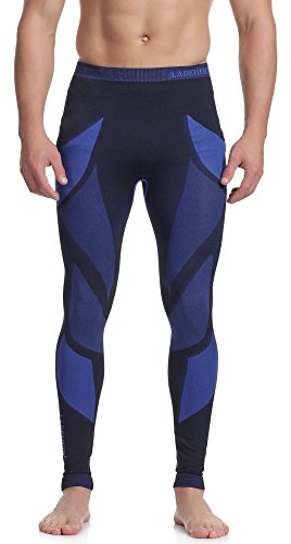 Ladeheid Herren Funktionsunterwäsche lange Unterhose Thermoaktiv (Schwarz/Navyblau, XL)