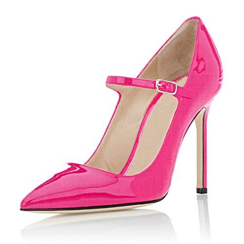Soireelady - Scarpe Col Tacco - Sexy Stiletto Tacco Scarpe - Mary Jane Tacco Alto - con Cinturino Alla Caviglia Rosa EU35