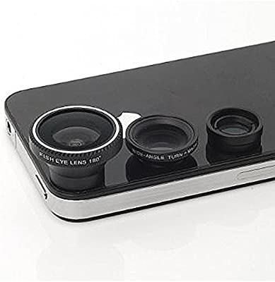 afaith Set 3en 1fisheye extraíble gran ángulo macro + objetivo ojo de pez para iPhone 6S, 6s Plus, iPhone 6, 6Plus, 5, 5S, 4, iPad, iPad Mini, Samsung Galaxy S6, S6Edge, S5, S4, Note 4,3, Xiaomi, Huawei, HTC, Blackberry