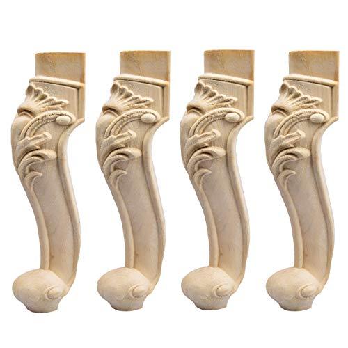 35cm Holz Möbelfüße, La Vane 4 Stück Europäisch Stil Massivholz Geschnitzten Ersatz Tischbeine Möbelbeine Dekoration für Sofa Bett Schrank Couch Stuhl - Stil-holz-bett