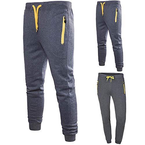 Cinnamou Pantalones de Color Patche para Hombre Algodón Invierno con Cintura Elástica para Atletismo Gym Gimnasio Senderismo