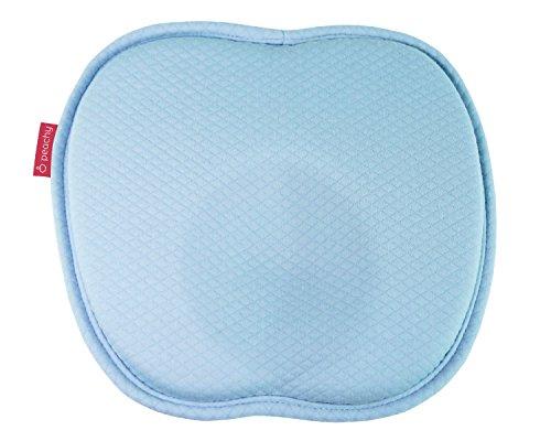 Preisvergleich Produktbild HALLO WELT Baby-Kissen Memory-Schaum I Mit Mulde Gegen Plattkopf I Waschbarer Baumwolle Bezug I Kopfkissen Für Rückenlage I Druckentlastendes Baby-Kopfkissen Verformung (blau)