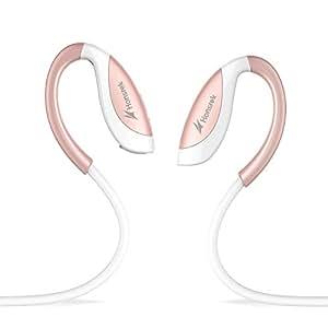 WirelessOhrhörer HonstekH5Bluetooth V4.1StereoIn-ear Kopfhörer GräuschreduzierungSchweißdicht für Sportmit APT-X/Mickompatibel(Weiß/Rose Gold)