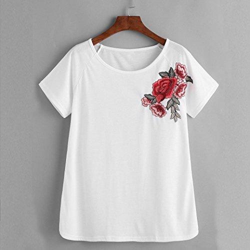 BZLine - T-shirt à Fleur Rose Applique - en Coton - Femme B