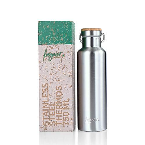 freigeist Edelstahl Trinkflasche 750 ml, Bambusdeckel, Isolierte Thermosflasche doppelwandig, BPA-frei, Für Outdoor, Wandern, Sport