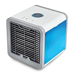Tragbarer Mini Mobile Klimageräte Ventilator 3 in 1 Luftkühler, Luftbefeuchter und Luftreiniger, Tischklimaanlage Ventilator mit 7 Farben LED Nachtlicht