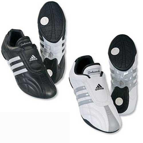 adidas Taekwondo Schuh AdiLux, Weiß mit Grauen Streifen 38 2/3