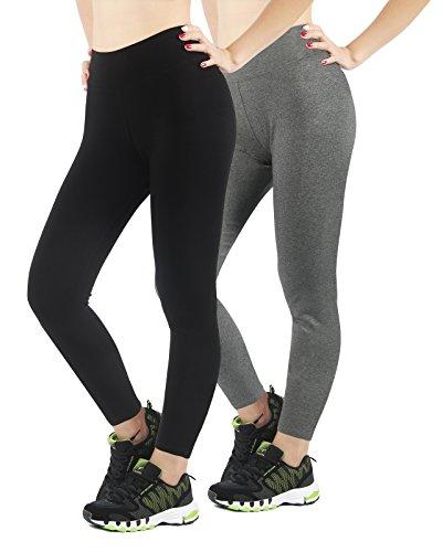 3b6d6bb72a5ea 4HOW Leggings Damen Schwarz und Grau Sportwear Hosen Frauen Running Pants  Joggingshosen x2