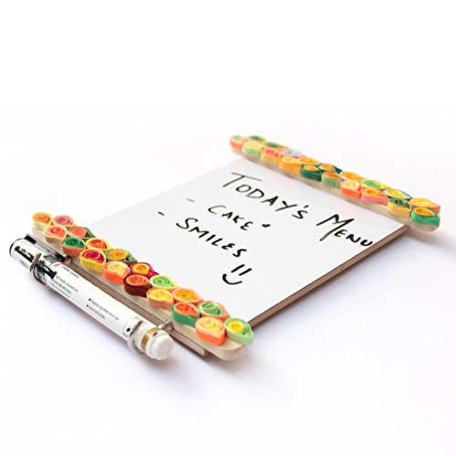 India Meets India Handcrafted Wooden Fridge Magnets with a Whiteboard And Hooks - Paper Quilling, Magnetic Boards