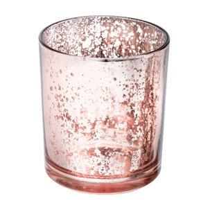6x medium portacandele in vetro mercurizzato oro rosa candela votiva decorazione per matrimoni, natale, eventi