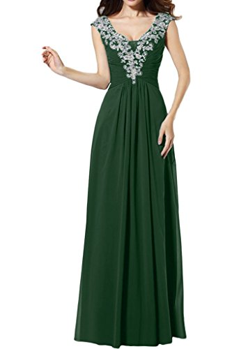 Toscana sposa di alta qualità scollo a V Applikation A-line di prom Party Ballo vestiti Dunkelgruen