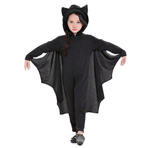 (Costour Damen Kostüm für Karneval Halloween Fledermaus Hexe Cosplay Set, Black Child, M)