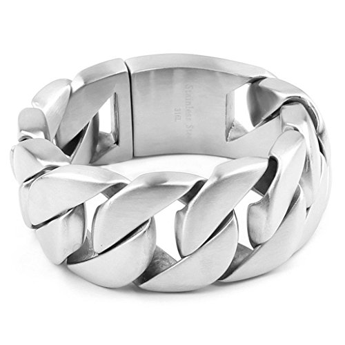 Bishilin 316L Edelstahl Silber Cuban Curb Link Kette Herren Armband 3Cm*26Cm (Camo Tri-color)