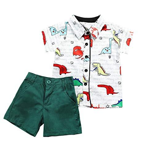 Anglewolf Baby 2 Stück Bekleidungsset Blusen Frühling Sommer Neugeborenes Baby Jungen Elefanten Print Kurzarm Rundhals T-Shirt Tops + Hosen Outfits Set Casaul Strand Kleidung(A Grün,100)