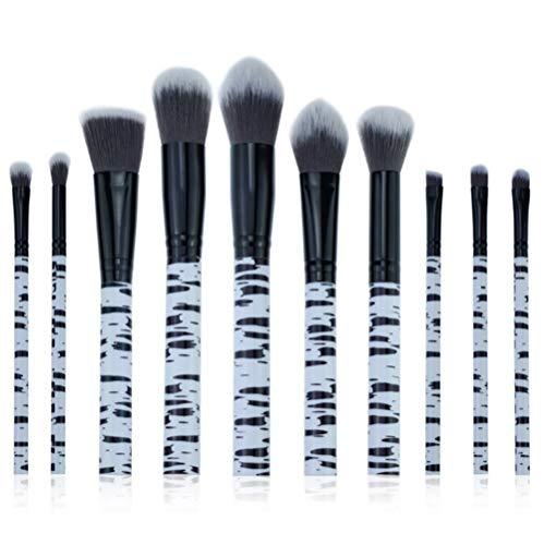 Cdet. 10Pcs Kit De Pinceau Maquillage en Visage et Oeil avec Cosmétiques Brush Ensemble Fondation Mélange Blush Yeux Poudre Brosse Make Up Série de marbre de Grain Noir
