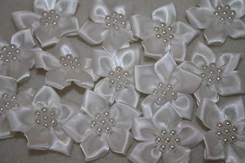white satin flower & pearl bows 20pcs wedding stationary scrapbook embellishment trim