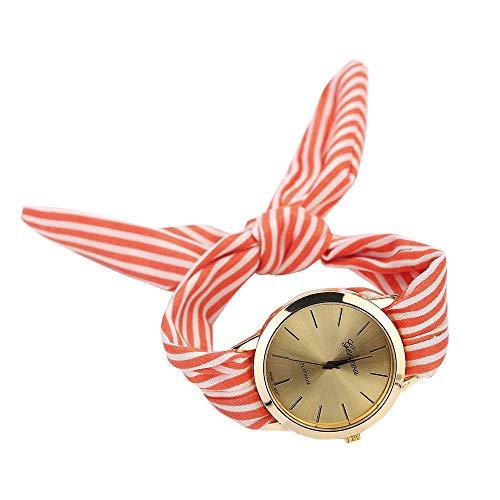 Patifia Quartz Armbanduhr Damen, Frauen Mode Streifen Floral Stoffgürtel Damenuhr Tuch Quarz Zifferblatt Armband Armbanduhr Uhr Schwarz Runde Armbanduhr