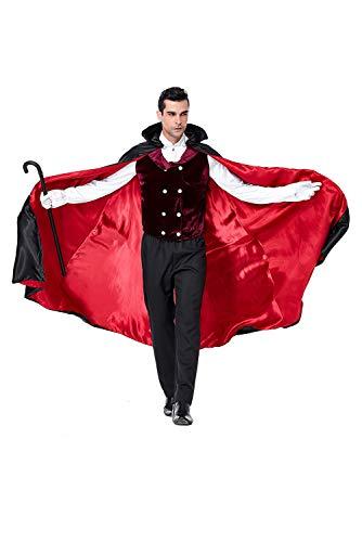 icewalker Herren Vampir Kostüm Erwachsene Vampir Kostüm Männlich Umhang Dracula Teufel Outfit Anzug mit Umhang Weste Weste für Halloween Karneval Festival Party Gr. 85, rot (Männliche Vampir Kostüm)