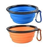 UEETEK 2pcs plegable del animal doméstico perro recipiente silicona viaje pop-up para mascotas perro gato (azul + naranja)