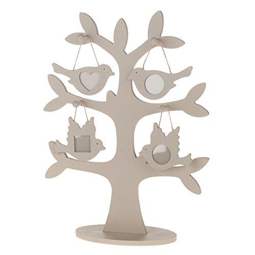 Bilderrahmen TREE - taupe - Holzbaum mit kleinen Bilderrahmen - Vogel - 39,5 cm