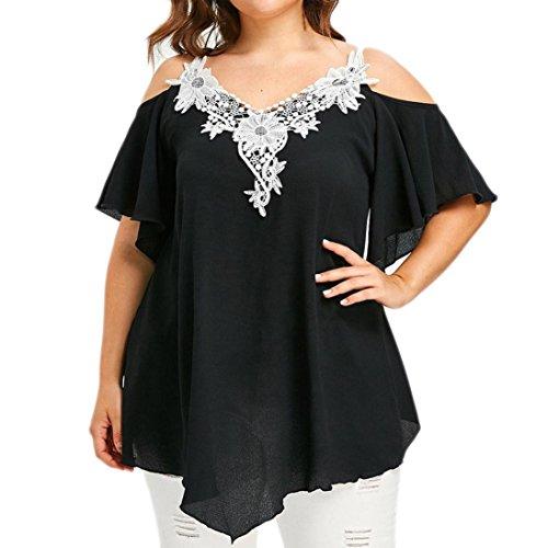 OverDose Damen Mode Casual Blumenspitze verschönert Plus Size T-Shirt V-Ausschnitt trägerlosen Tops Freizeit Bluse Tees Oberteile (Schwarz,3XL) (Kleid Trägerlosen Bestickt Baumwolle)