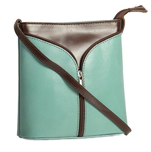 Big Handbag Shop Borsetta piccola a tracolla, vera pelle italiana Aqua Blue & Coffee