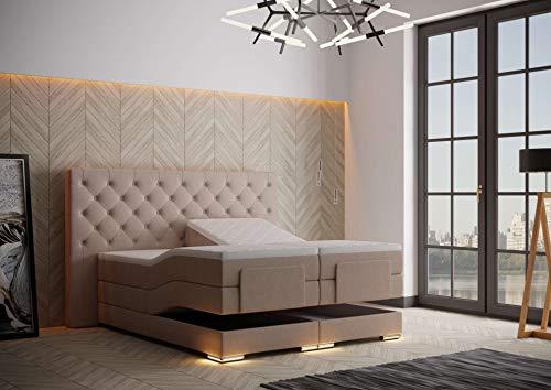 HG Royal Estates GmbH Mailand Designer Chesterfield Boxspringbett elektrisch inkl. LED-Beleuchtung, Visco Topper, 7-Zonen Taschenfederkern, H3, Beige Stoff Größe 180 x 200 cm