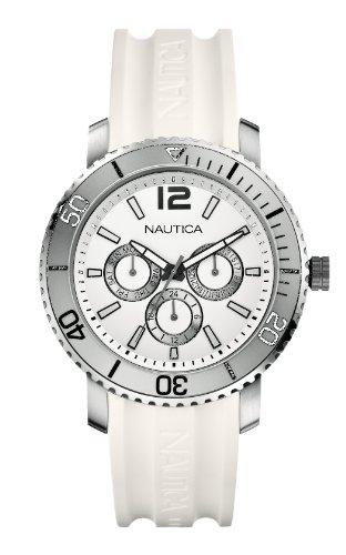 Nautica - A16641G - Montre Mixte - Quartz Analogique - Bracelet Caoutchouc Blanc