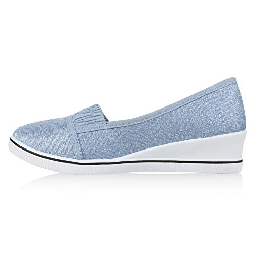 Damen Keilpumps Wedges Canvas Schuhe Pumps Keilabsatz Hellblau Glitzer