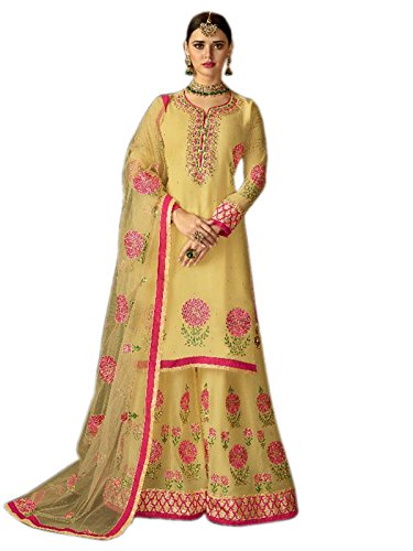 Shoppingover Designer ethnic Indian embroidery Hand work Kameez with Stitched Plazo-Yellow Color