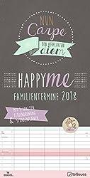 Happy Me 2018 - Familienplaner, Spaltenkalender, Sprüche, Typographie, Design  -  23 x 45,5 cm