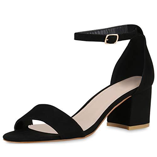 SCARPE VITA Klassische Damen Sandaletten Basic Wildleder-Optik Sommer Schuhe Blockabsatz Riemchensandaletten Absatzschuhe 176299 Schwarz 37