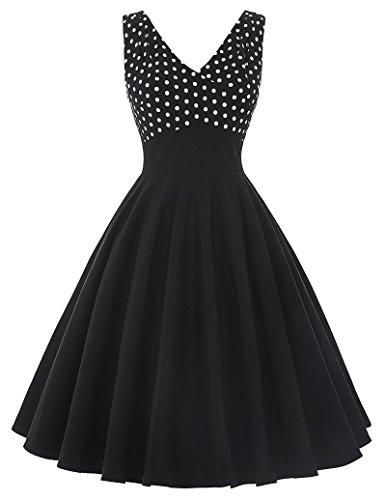Partykleid 1950er Style Cocktailkleider Schwarz Kleid Sommer