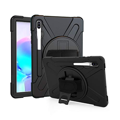 ProElite Rugged 3 Layer Armor case Cover for Samsung Galaxy Tab S6 10.5 Inch SM-T860/T865/T867 with Hand Grip and Rotating Kickstand with SPen Holder