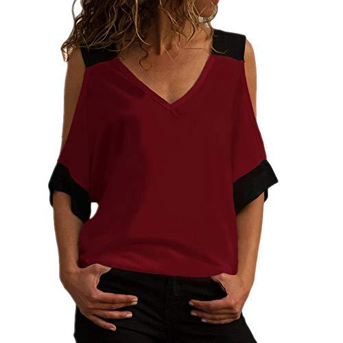 Damen Kurzarm Langarm T-Shirt V-Ausschnitt Sommer Reitjacke Shirt Damen Rundhals Casual T-Shirt Shirt Damen Shirt rot M