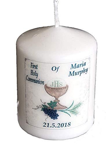 Erstkommunion Personalisiertes Geschenk Kerze Karte & Schlüsselring für Mädchen oder Jungen Christliches Geschenk Andenken