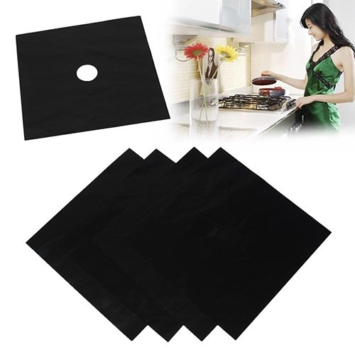 Bluelans® Reusable Gas Hob Protector Sheet Non Stick Foil Gas Hob Stovetop Protector Oven Liner Black ,Pack of 4, 27x27cm
