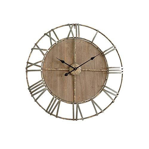 Rebecca Mobili Reloj Redondo, marrón, Hierro, Madera, diseño Vintage Antiguo, analógico - Medidas diámetro Ø 80 cm x P 6 cm (AxANxF) - Art. RE4987