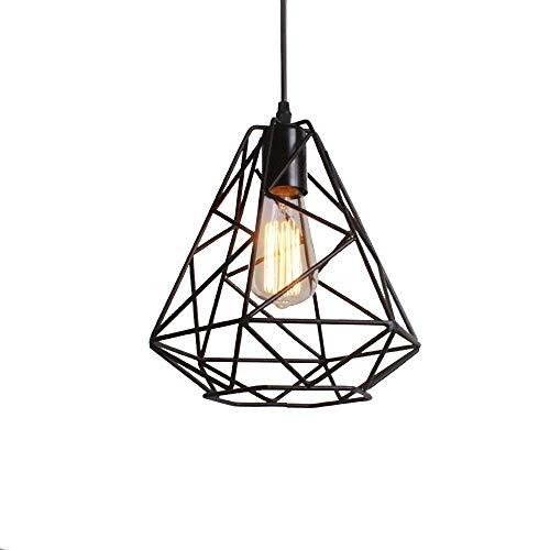 Lampada a Sospensione Meath Paralume Metallo Gabbia a Forma Vintage Industriale Lampadari Illuminazione per Interni Colore Nero