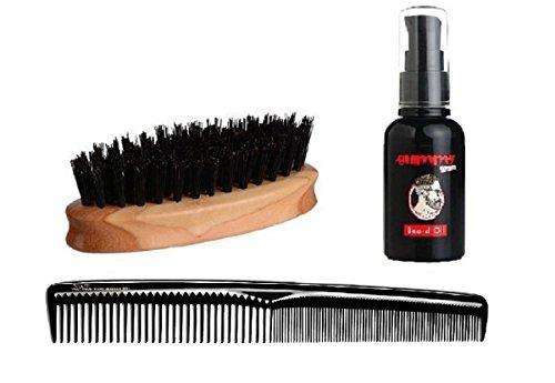 LUQX Bartpflegeset - Bartbürste aus Birnbaumholz & Bartkamm mit Griff & Fonex Bartöl 50 ml & Tasche | Männer Geschenkset zur Voll-Bartpflege | Herren Bartpflegemittel
